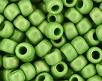 6/0 Hybrid Sueded Gold Opaque Mint Green Toho Glass Seed Beads 2.5 inch tube 8 grams TR-06-Y624
