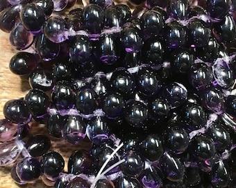 50 Teardrop Purple Pansy Dark Purple Czech Pressed Glass Teardrop Beads 5mm x 7mm 50 beads