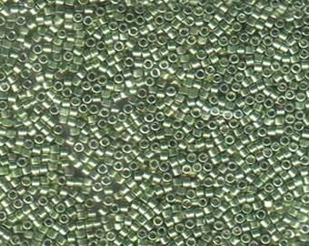 11/0 Miyuki Delica Galvanized Light Green Glass Seed Beads 7.2 grams DB413