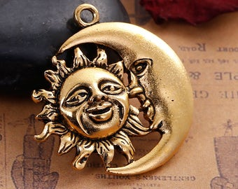 Clearance Sun and Moon Face Antique Gold Tone Hollow Pendant Charm 33mm C210A