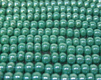 6/0 Dark Green Opaque Luster Genuine Czech Glass Preciosa Rocaille Seed Beads