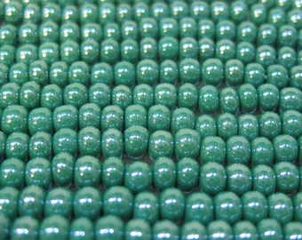 6/0 Dark Green Opaque Luster Genuine Czech Glass Preciosa Rocaille Seed Beads 6 Strand Half Hank 80 grams