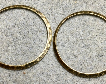 Hammered Rustic Large Rings Vintage Look Antique Brass Antique Bronze 33mm 2 pcs F442A
