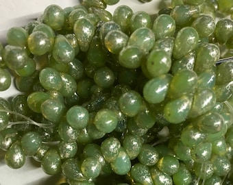 50 Celadon Green with Mercury Finish Czech Pressed Glass Teardrop Beads 4mm x 6mm approx 50 beads