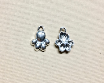 Dog Paw Silver Plated Charm Pendant Paw Charm 12mm x 12mm Made in the USA One Charm