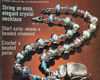 Bead and Button Magazine Crystal Necklace Beaded Ornament Crochet a Beaded Purse Silver and Glass 4 Ways August 2001 issue