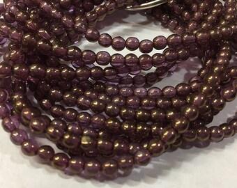 Purple Metallic with Bronze Czech Pressed Glass Round Druk Beads 4mm 50 beads
