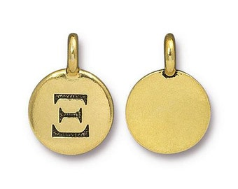 Xi Greek Letter Pendant Tiny Gold Charm TierraCast Antique Gold Greek Letter Charm TierraCast Lead Free Pewter 16.5x11.5mm One Charm