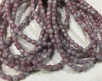 Lilac Blue Opaque Glass Firepolished Crystal Beads 3mm 50 beads