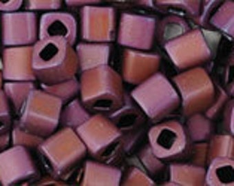 Clearance Matte Mauve Mocha 3mm Toho Cube Beads 2.5 inch Tube 8 grams TC-03-703