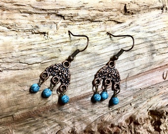 Boho Antique Copper Turquoise Howlite Vintage Inspired Earrings with Floral Filigree Pattern Triple Dangle Howlite Stones