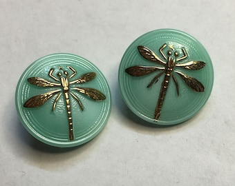 Mint Green Dragonfly Czech Glass Button with Gold Detail 18mm