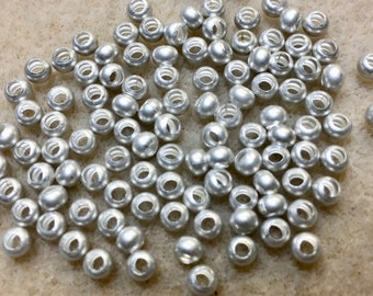 6/0 Matte Silver Plated 100% Brass Round Seed Beads Made in the USA Approx 10 grams