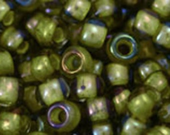 6/0 Luster Black Diamond Opaque Yellow Lined Toho Glass Seed Beads 2.5 inch tube 8 grams TR-06-246