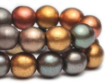 Metallic Mix 6mm Czech Pressed Glass Round Druk Beads 6mm 30 beads
