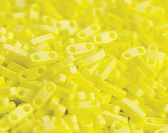 Matte Opaque Yellow AB Miyuki Quarter Tila 1.2mm x 5mm x 1.9mm Glass Beads 1/4 Cut 6 grams