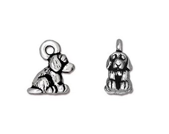 Antique Silver Puppy Dog Double Sided Charms TierraCast Lead Free Pewter 10mm x 7mm Two Charms F450C