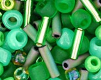 Wasabi Green Mix Toho Glass Seed Beads 2.5 inch tube 8 grams TX-01-3231