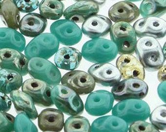 Super Duo African Turquoise Mix Pressed Glass Two Hole Seed Beads 2.5mm x 5mm 12 grams
