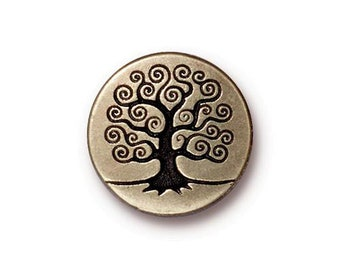 Tree of Life Button TierraCast Antique Brass 16mm x 4.5mm One Button