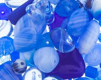 Indigo Blues Czech Glass Bead Assorted Bead Mix Shades of Blue Sapphire Cobalt 50 grams