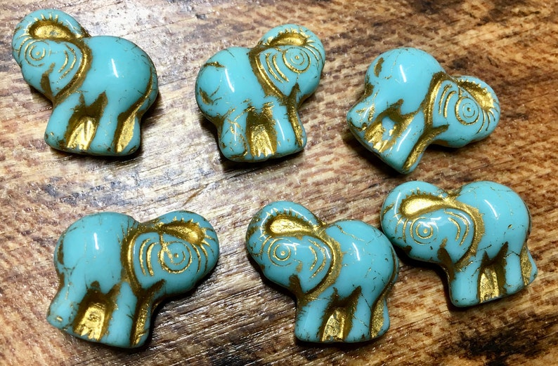 a09ebc17a Elephant Turquoise with Gold Detail Czech Pressed Glass | Etsy