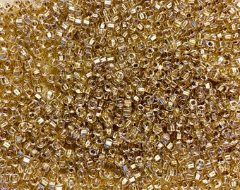 8/0 Crystal Lined Light Gold Fancy Shine Japanese Glass Rocaille Seed Beads 6 Inch tube 28 grams #703