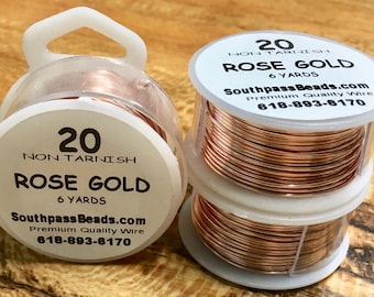 20 gauge Rose Gold Plated Copper Craft Wire 6 yards Made in the USA