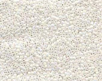 ON SALE 11/0 Miyuki Delica Opaque White Pearl AB Glass Seed Beads 7.2 grams Db0202