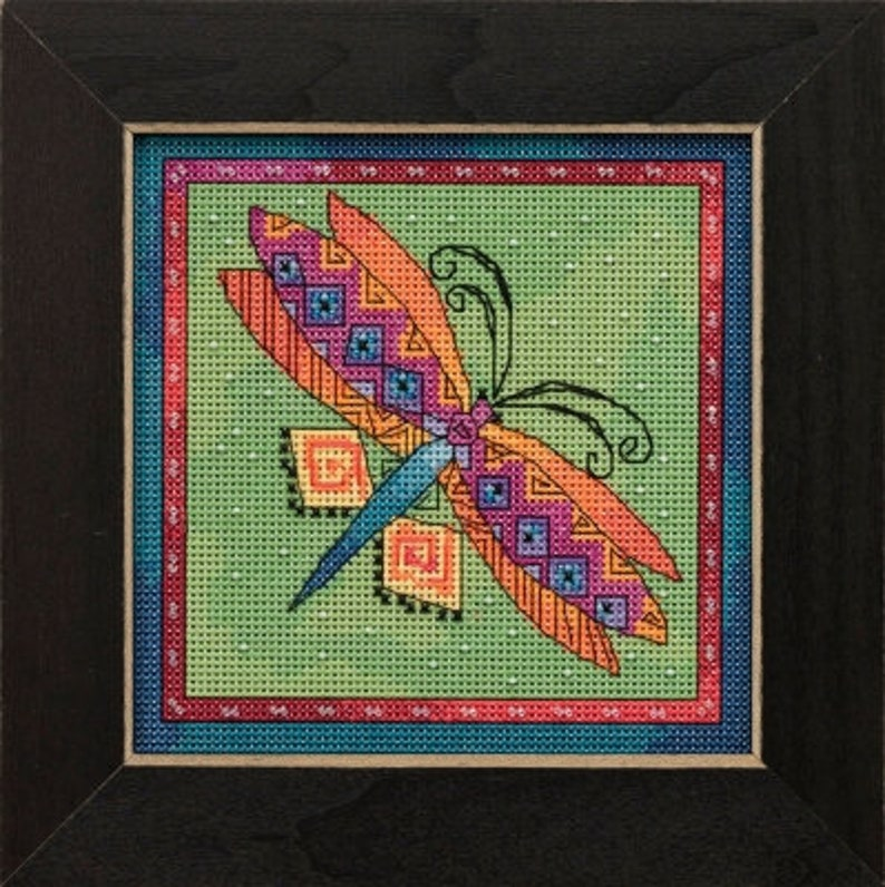 Laurel Burch Dragonfly on Lime Kit by Mill Hill Cross Stitch image 0