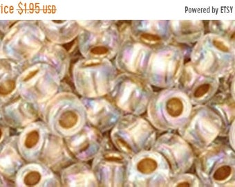 ON SALE 6/0 Gold Lined Rainbow Crystal Toho Glass Seed Beads 2.5 inch tube 8 grams TR-06-994