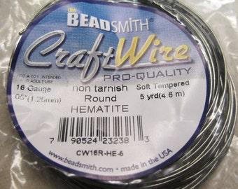 16 gauge Non Tarnish Hematite Beadsmith Copper Craft Wire 5 yards