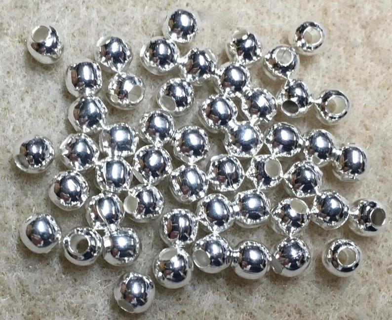 50 Silver Plated Smooth Round Beads 4mm Made in the USA F453B
