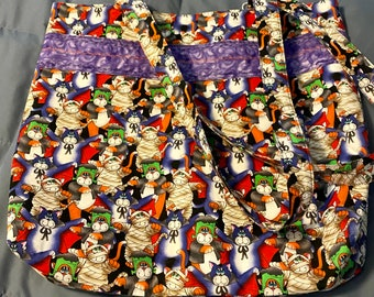Market Bag Halloween Mummy Cats Grocery Farmers Market Crafting Cotton Fabric Box Bottom Bag with Coordinating Straps