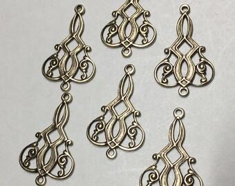 Antique Brass Filigree Connector Vintage Style Flat Back Earring Chandelier 25mm x 15mm 6 pcs F153B