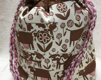 Moo Cow Strut Farm Print Knitting Beading Project Bag with Yarn Rope Drawstring