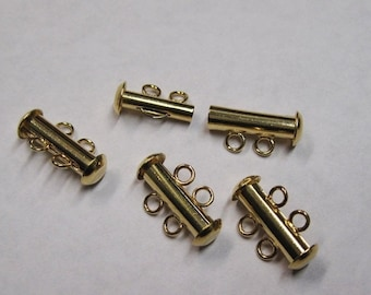 ON SALE Slide Clasp Gold Plated 2 Strand Slide Clasp Two Strand Tube 10.5mm 4 clasps F298A