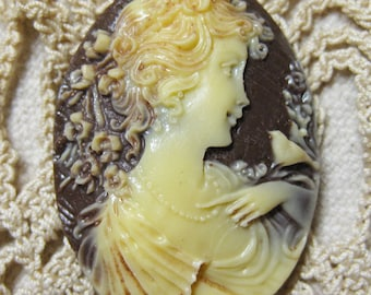 Stunning Ivory Victorian Woman with a Bird Acrylic Brown Vintage Look Cameo Jewelry Cabochon Pendant 40mm x 30mm