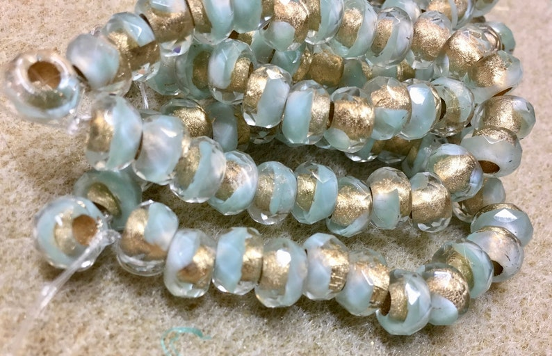 Blue Green Czech Pressed Glass Large Hole Faceted Roller Beads image 0