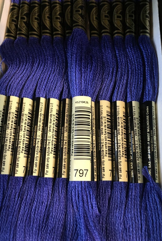 Dmc 797 Royal Blue Embroidery Floss 2 Skeins 6 Strand Thread Etsy