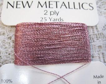 Rose Quartz Metallic Pink Polyester Thread 2 ply .30mm 25 yards