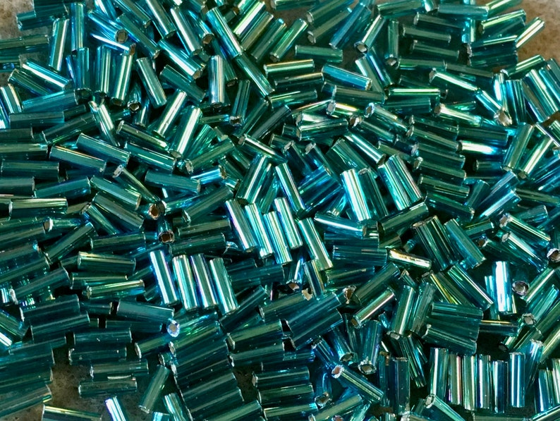 Bugle Beads 6mm Teal Silver Lined Japanese Glass Bugle Beads Approx 28 grams #643