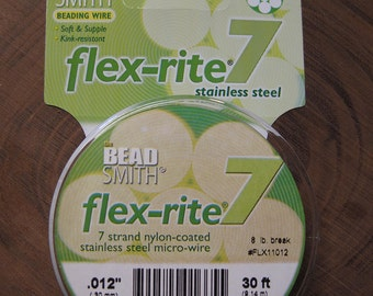 Clear Flex Rite 7 Strand Nylon Coated Steel Beading Wire .012 Micro Wire 30 ft