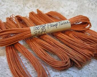 Orange Sunset Natural Hemp Macrame Cord Twine 30 ft