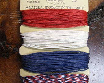 Americana Red White and Blue Hemp Cord for Macrame Jewelry Making 4 colors 15 ft each