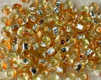 6/0 Jonquil/Peach Silver Lined Two Toned Rococo Japanese Glass Seed Beads 6 inch tube 28 grams #857