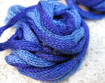 3 Blue Hues Silk Knitted Tube Cord for Kumihimo Braiding Weaving 9 yards