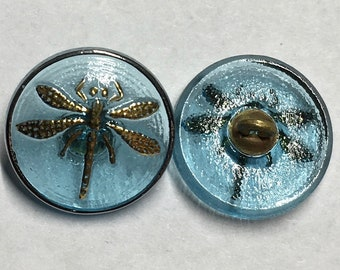 Aqua Light Blue Transparent Dragonfly Czech Glass Button with Gold Detail with Metal Shank 18mm