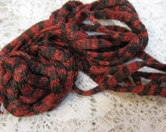 5 Red and Black Silk Knitted Tube Cord for Kumihimo Braiding Weaving 15 yards