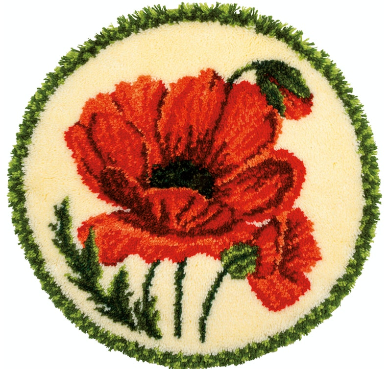 Poppy Latch Hook Shaped Rug Kit by Vervaco All Materials and image 0